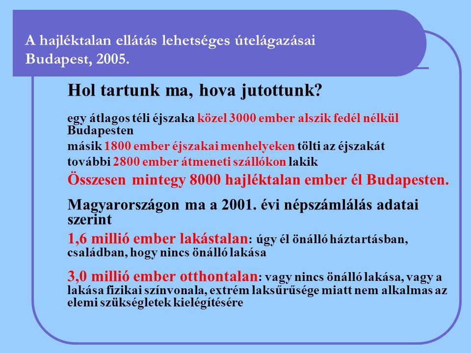 A hajléktalan ellátás lehetséges útelágazásai Budapest, 2005. Hol tartunk ma, hova jutottunk? egy átlagos téli éjszaka közel 3000 ember alszik fedél n