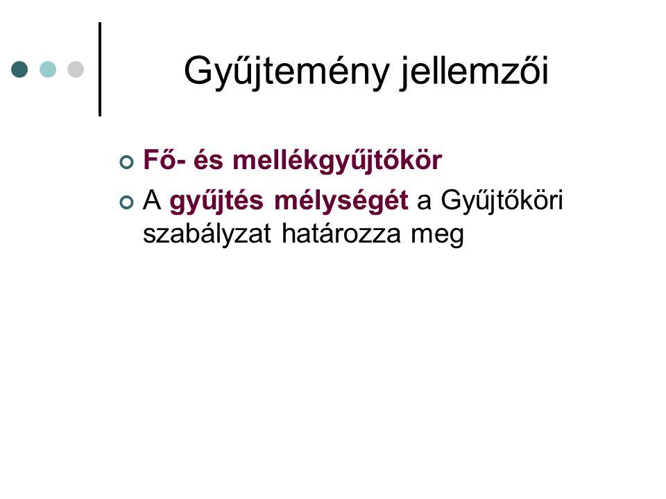 Gyűjtőköri szabályzat Az SZMSZ melléklete Meghatározza, hogy az adott könyvtár: Milyen típusú dokumentumokat Milyen témában Milyen mélységben Mekkora példányszámban Milyen nyelven Melyen időhatárok között Mellék és főgyűjtőkör rögzítése Tartós és ideiglenes megőrzés