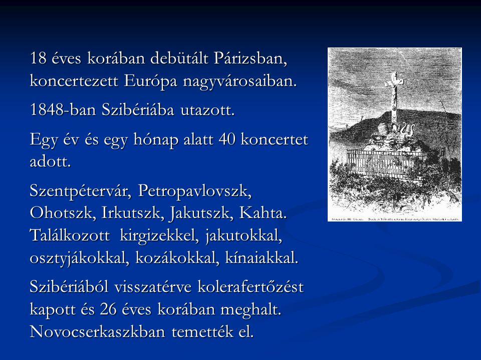 18 éves korában debütált Párizsban, koncertezett Európa nagyvárosaiban. 1848-ban Szibériába utazott. Egy év és egy hónap alatt 40 koncertet adott. Sze