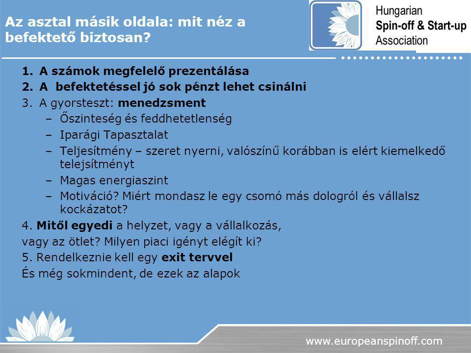 www.europeanspinoff.com 1.A számok megfelelő prezentálása 2.A befektetéssel jó sok pénzt lehet csinálni 3.A gyorsteszt: menedzsment –Őszinteség és fed