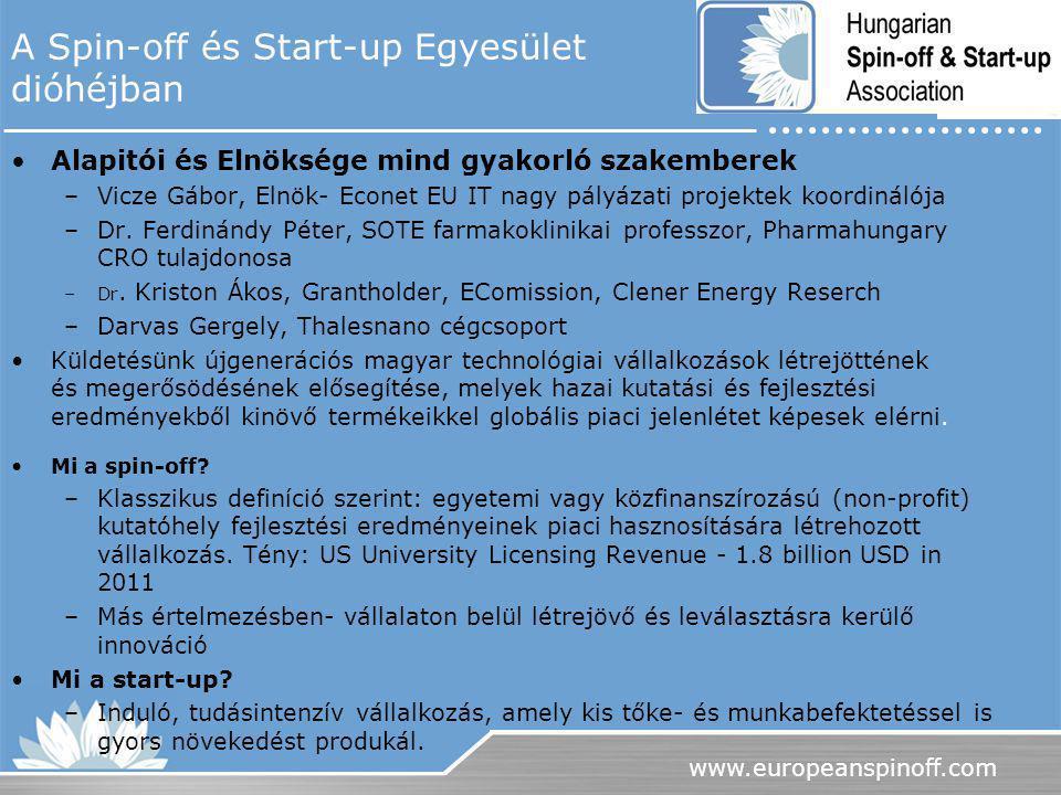 www.europeanspinoff.com A Spin-off és Start-up Egyesület dióhéjban Alapitói és Elnöksége mind gyakorló szakemberek –Vicze Gábor, Elnök- Econet EU IT n