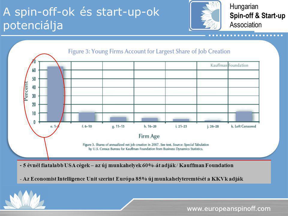 www.europeanspinoff.com A spin-off-ok és start-up-ok potenciálja - 5 évnél fiatalabb USA cégek – az új munkahelyek 60%-át adják / Kauffman Foundation