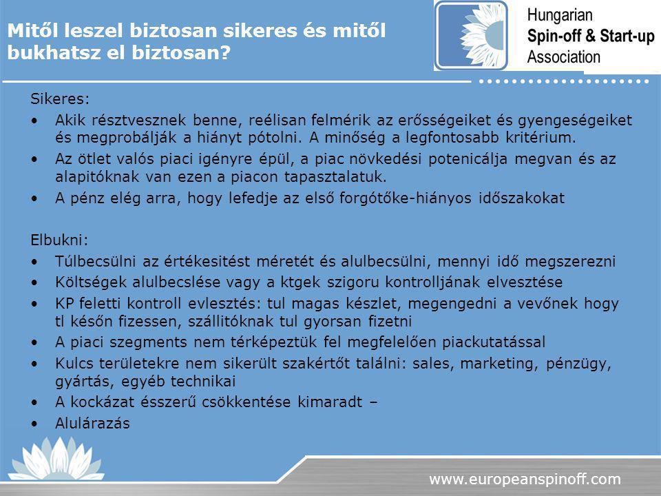 www.europeanspinoff.com Mitől leszel biztosan sikeres és mitől bukhatsz el biztosan? Sikeres: Akik résztvesznek benne, reélisan felmérik az erősségeik