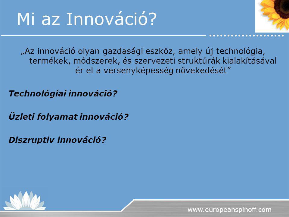 """www.europeanspinoff.com Mi az Innováció? """"Az innováció olyan gazdasági eszköz, amely új technológia, termékek, módszerek, és szervezeti struktúrák kia"""