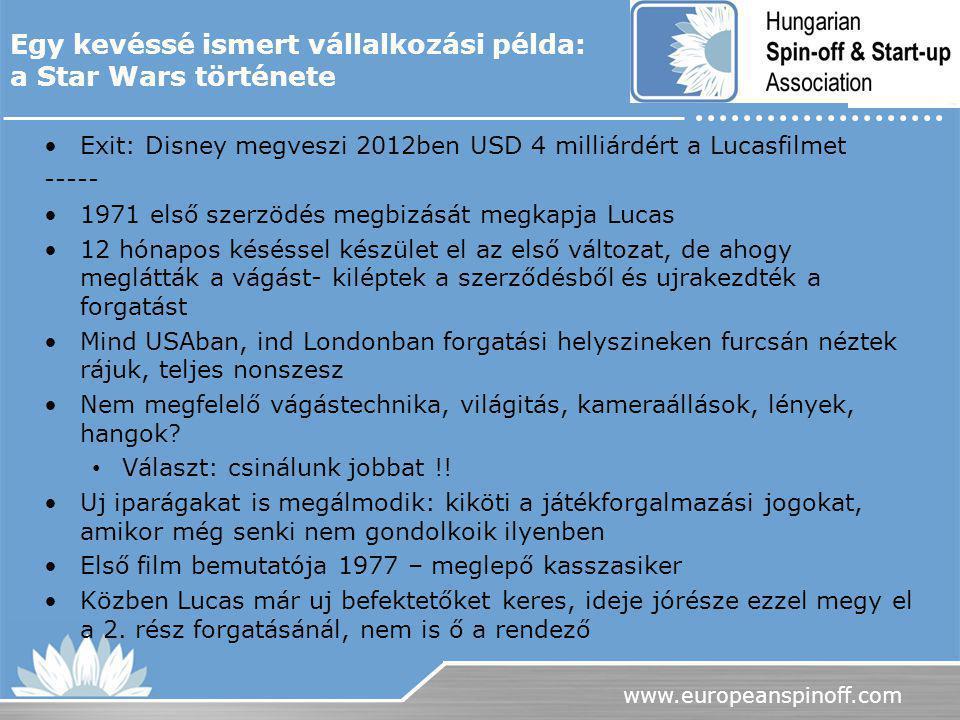 www.europeanspinoff.com Exit: Disney megveszi 2012ben USD 4 milliárdért a Lucasfilmet ----- 1971 első szerzödés megbizását megkapja Lucas 12 hónapos k