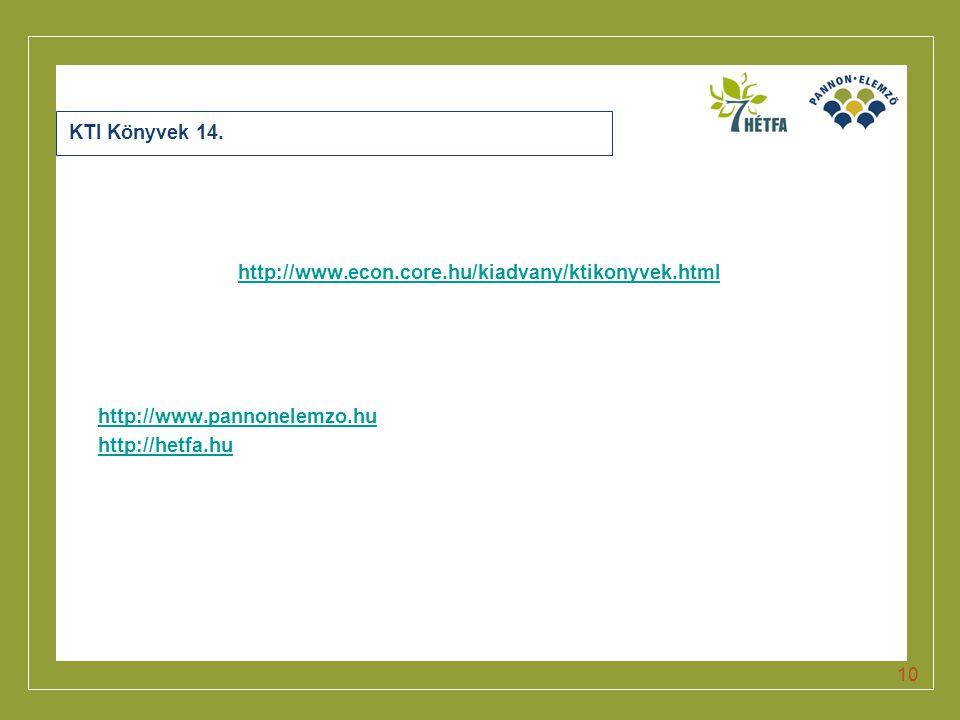 Click to edit Master title style 10 KTI Könyvek 14. http://www.econ.core.hu/kiadvany/ktikonyvek.html http://www.pannonelemzo.hu http://hetfa.hu