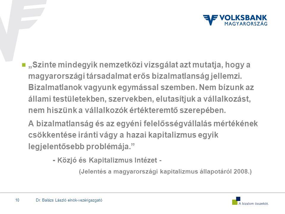 """Dr. Balázs László elnök-vezérigazgató10 """"Szinte mindegyik nemzetközi vizsgálat azt mutatja, hogy a magyarországi társadalmat erős bizalmatlanság jelle"""