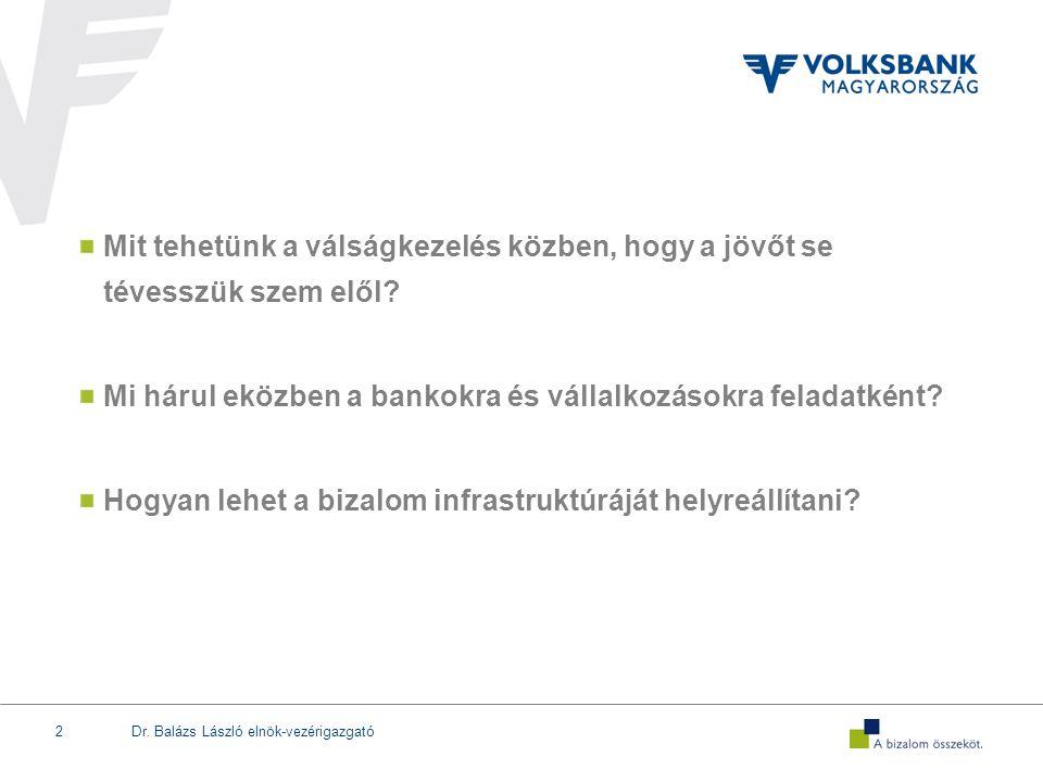 Dr. Balázs László elnök-vezérigazgató2 Mit tehetünk a válságkezelés közben, hogy a jövőt se tévesszük szem elől? Mi hárul eközben a bankokra és vállal