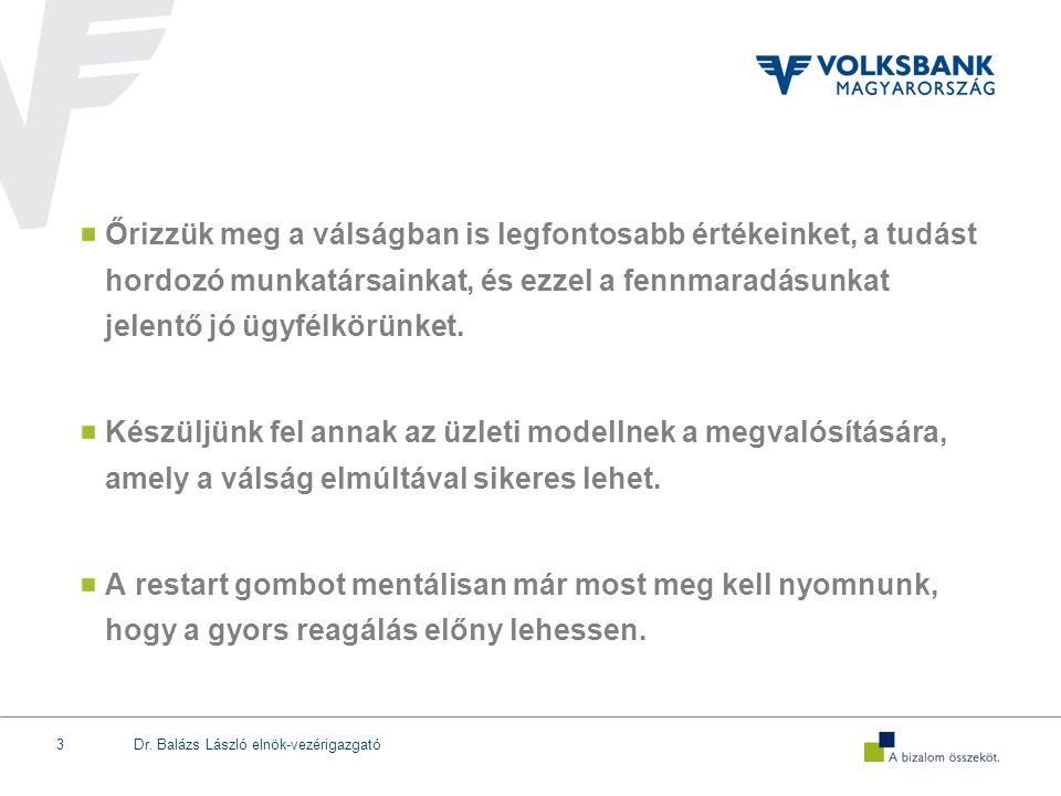 Dr. Balázs László elnök-vezérigazgató3 Őrizzük meg a válságban is legfontosabb értékeinket, a tudást hordozó munkatársainkat, és ezzel a fennmaradásun