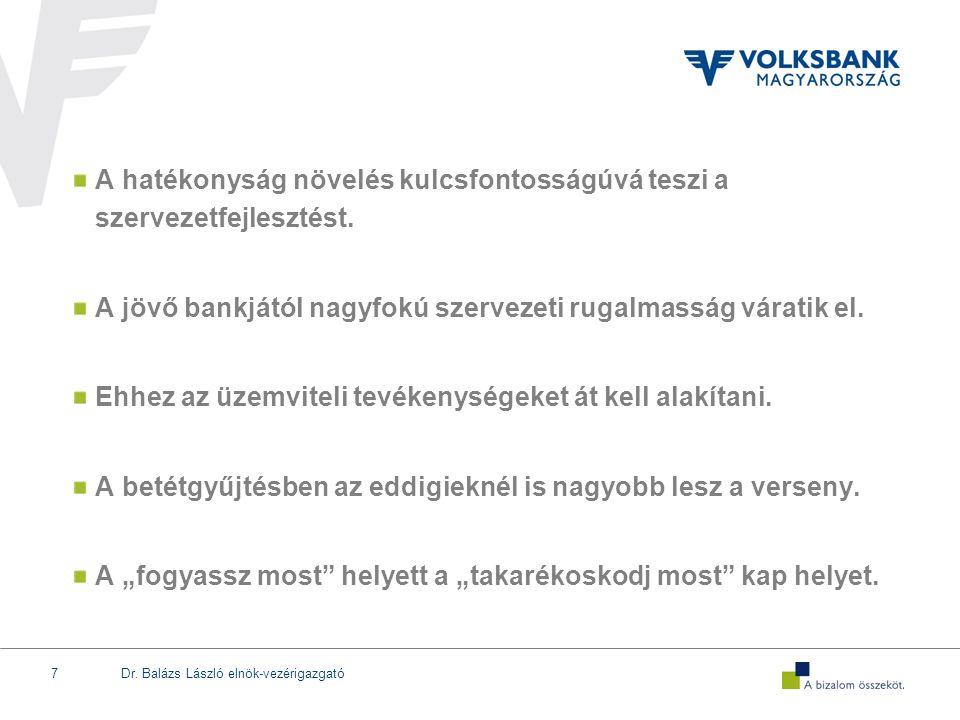 Dr. Balázs László elnök-vezérigazgató7 A hatékonyság növelés kulcsfontosságúvá teszi a szervezetfejlesztést. A jövő bankjától nagyfokú szervezeti ruga