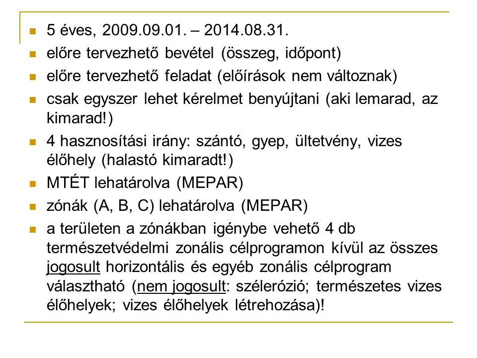 5 éves, 2009.09.01. – 2014.08.31. előre tervezhető bevétel (összeg, időpont) előre tervezhető feladat (előírások nem változnak) csak egyszer lehet kér