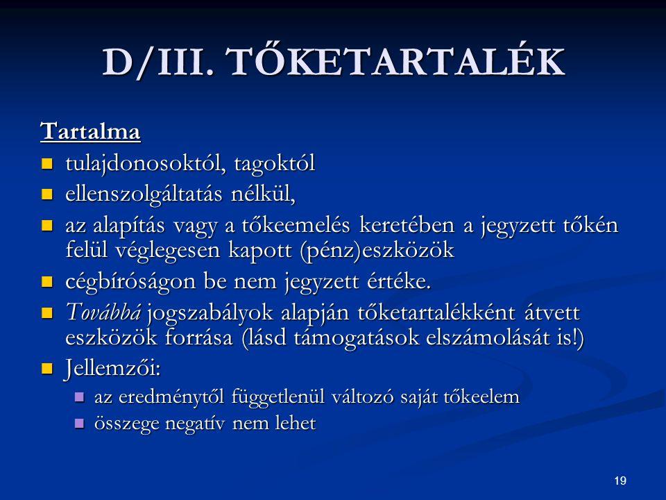 19 D/III. TŐKETARTALÉK Tartalma tulajdonosoktól, tagoktól tulajdonosoktól, tagoktól ellenszolgáltatás nélkül, ellenszolgáltatás nélkül, az alapítás va