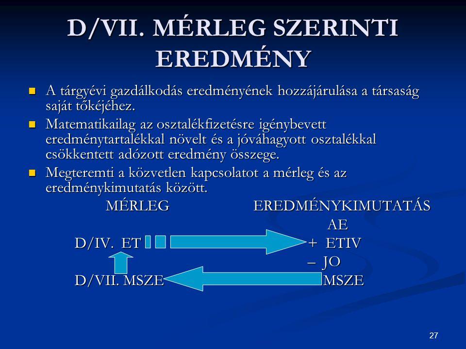 27 D/VII. MÉRLEG SZERINTI EREDMÉNY A tárgyévi gazdálkodás eredményének hozzájárulása a társaság saját tőkéjéhez. A tárgyévi gazdálkodás eredményének h
