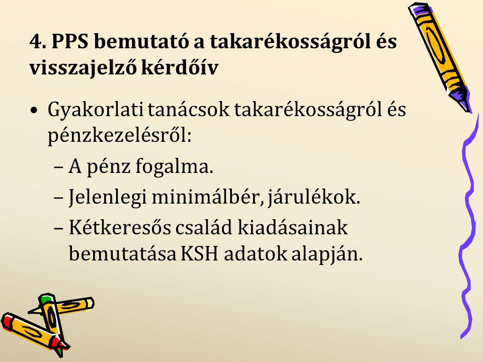4/2.PPS bemutató a takarékosságról és visszajelző kérdőív Spórolási tippek, ötletek.
