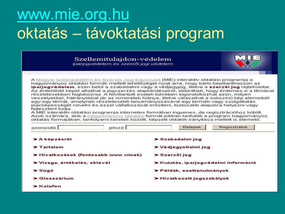 www.mie.org.hu www.mie.org.hu oktatás – távoktatási program