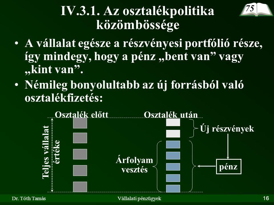 Dr. Tóth TamásVállalati pénzügyek16 IV.3.1. Az osztalékpolitika közömbössége A vállalat egésze a részvényesi portfólió része, így mindegy, hogy a pénz