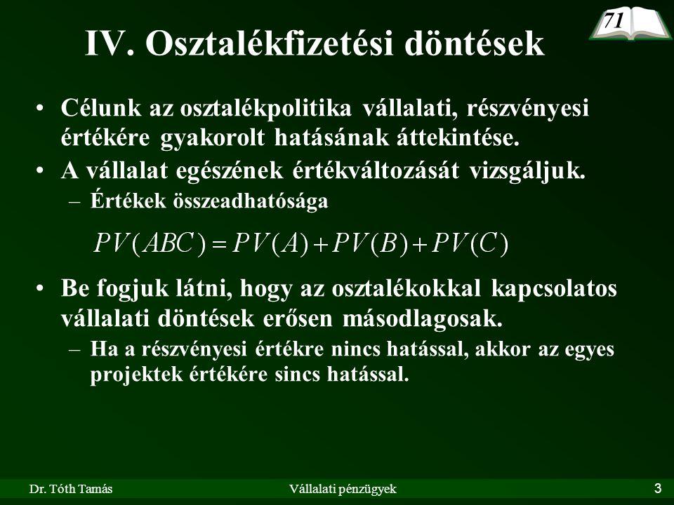 Dr.Tóth TamásVállalati pénzügyek14 Két alapszituáció: –A vállalatnak vannak szabad pénzösszegei.