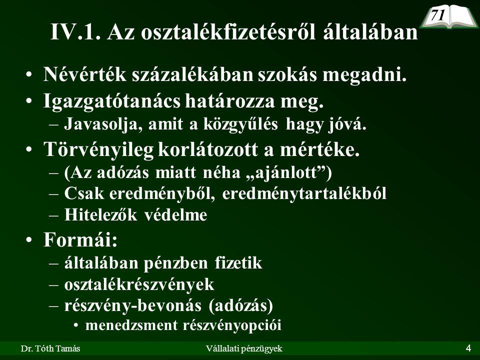 Dr.Tóth TamásVállalati pénzügyek5 IV.1.1.