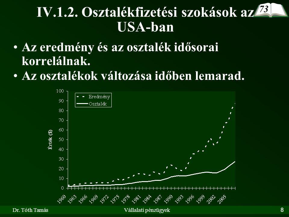 Dr. Tóth TamásVállalati pénzügyek8 IV.1.2. Osztalékfizetési szokások az USA-ban 73 Az eredmény és az osztalék idősorai korrelálnak. Az osztalékok vált