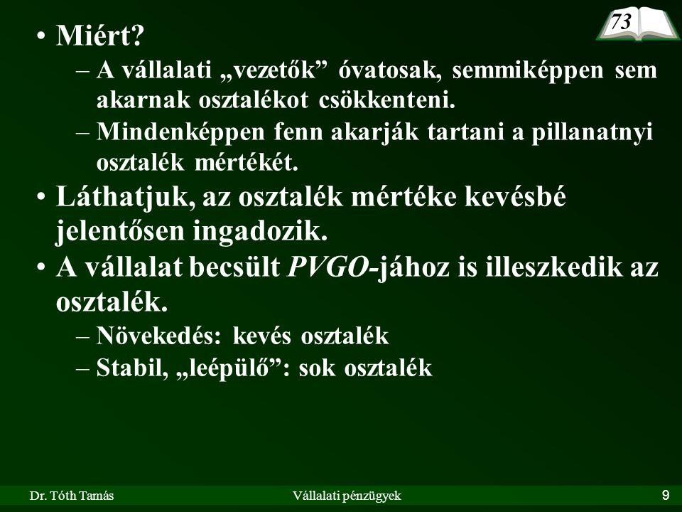 Dr.Tóth TamásVállalati pénzügyek10 IV.1.3.