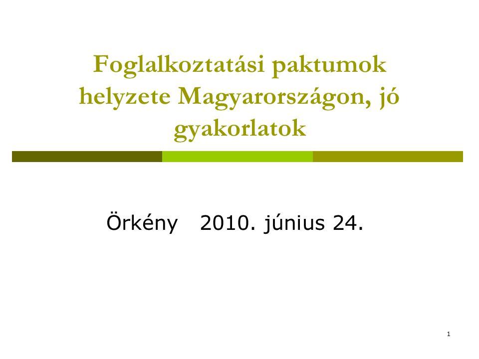 1 Foglalkoztatási paktumok helyzete Magyarországon, jó gyakorlatok Örkény 2010. június 24.