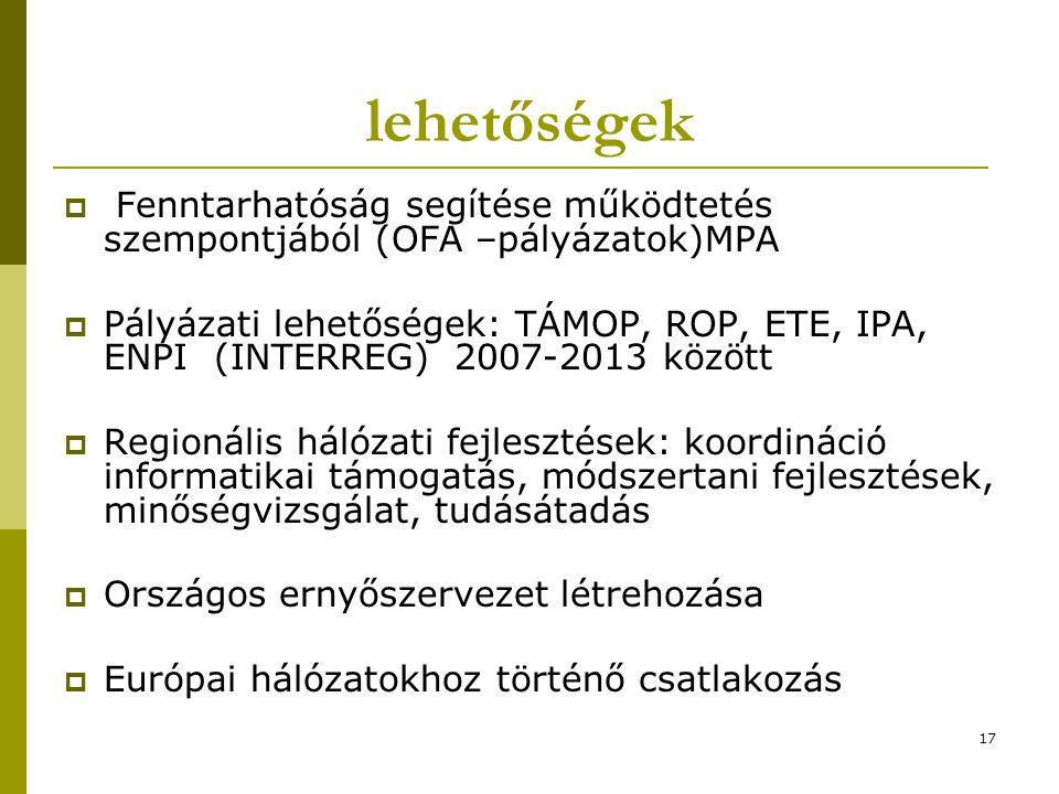 17 lehetőségek  Fenntarhatóság segítése működtetés szempontjából (OFA –pályázatok)MPA  Pályázati lehetőségek: TÁMOP, ROP, ETE, IPA, ENPI (INTERREG) 2007-2013 között  Regionális hálózati fejlesztések: koordináció informatikai támogatás, módszertani fejlesztések, minőségvizsgálat, tudásátadás  Országos ernyőszervezet létrehozása  Európai hálózatokhoz történő csatlakozás
