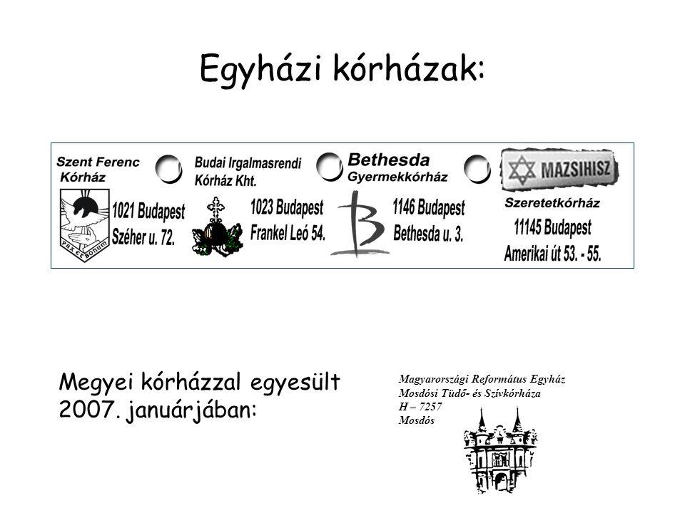 Egyházi kórházak: Magyarországi Református Egyház Mosdósi Tüdő- és Szívkórháza H – 7257 Mosdós Megyei kórházzal egyesült 2007.