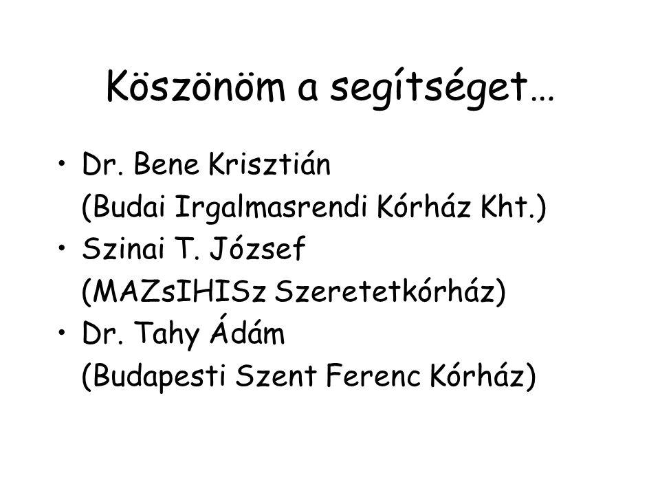Köszönöm a segítséget… Dr. Bene Krisztián (Budai Irgalmasrendi Kórház Kht.) Szinai T.