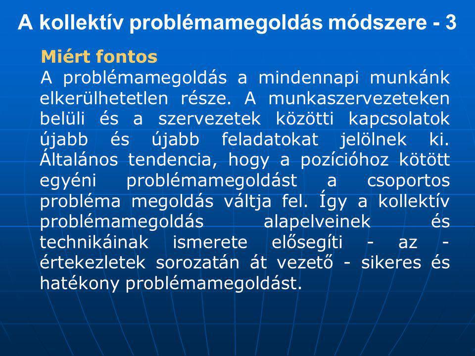 A kollektív problémamegoldás módszere - 3 Miért fontos A problémamegoldás a mindennapi munkánk elkerülhetetlen része.