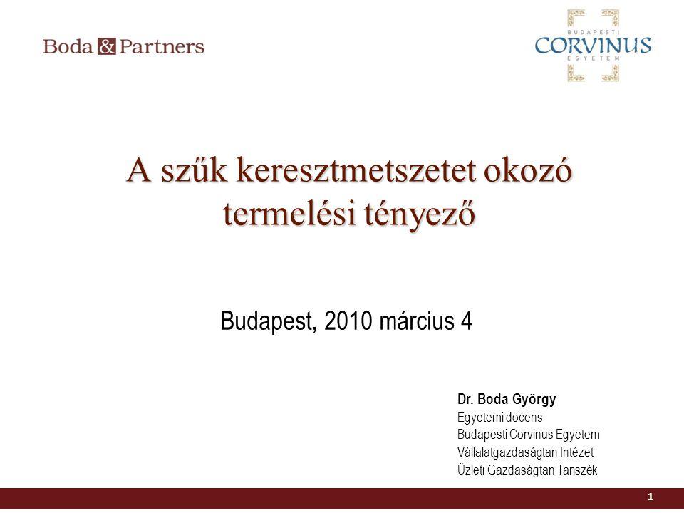 A szűk keresztmetszetet okozó termelési tényező 1 Dr. Boda György Egyetemi docens Budapesti Corvinus Egyetem Vállalatgazdaságtan Intézet Üzleti Gazdas