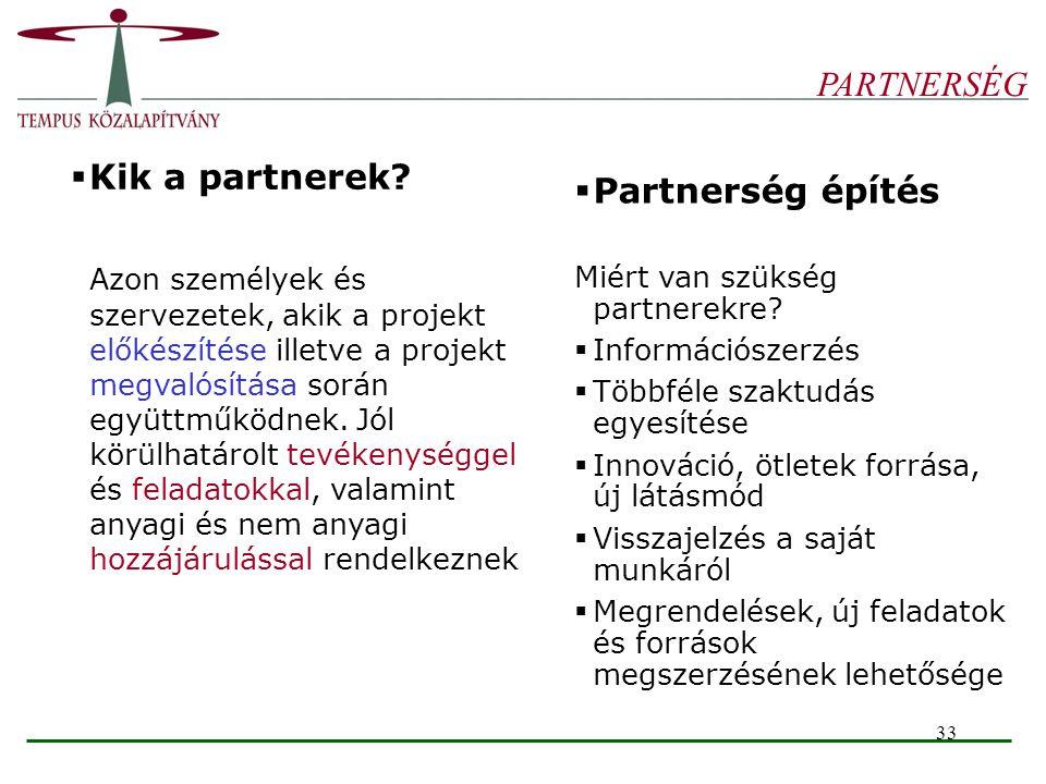 33 PARTNERSÉG  Kik a partnerek? Azon személyek és szervezetek, akik a projekt előkészítése illetve a projekt megvalósítása során együttműködnek. Jól