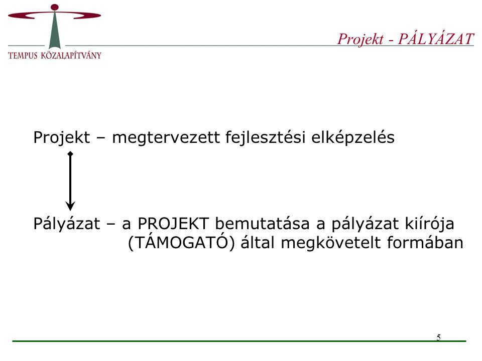 5 Projekt - PÁLYÁZAT Projekt – megtervezett fejlesztési elképzelés Pályázat – a PROJEKT bemutatása a pályázat kiírója (TÁMOGATÓ) által megkövetelt for