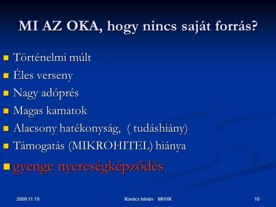 2009.11.19. 10 Kovács István MVHK MI AZ OKA, hogy nincs saját forrás? Történelmi múlt Történelmi múlt Éles verseny Éles verseny Nagy adóprés Nagy adóp