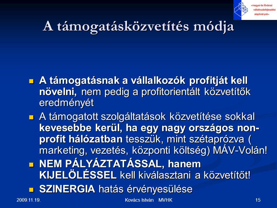 2009.11.19. 15 Kovács István MVHK A támogatásközvetítés módja A támogatásnak a vállalkozók profitját kell növelni, nem pedig a profitorientált közvetí