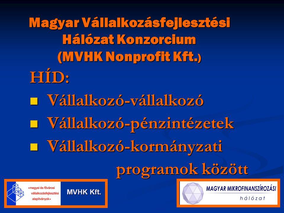 Magyar Vállalkozásfejlesztési Hálózat Konzorcium (MVHK Nonprofit Kft. ) HÍD: Vállalkozó-vállalkozó Vállalkozó-vállalkozó Vállalkozó-pénzintézetek Váll