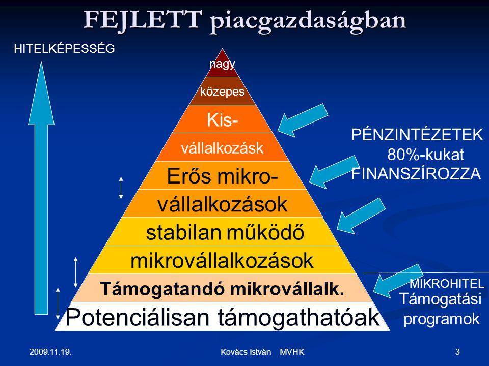2009.11.19. 3 Kovács István MVHK FEJLETT piacgazdaságban nagy közepes Kis- vállalkozásk Erős mikro- vállalkozások stabilan működő mikrovállalkozások T