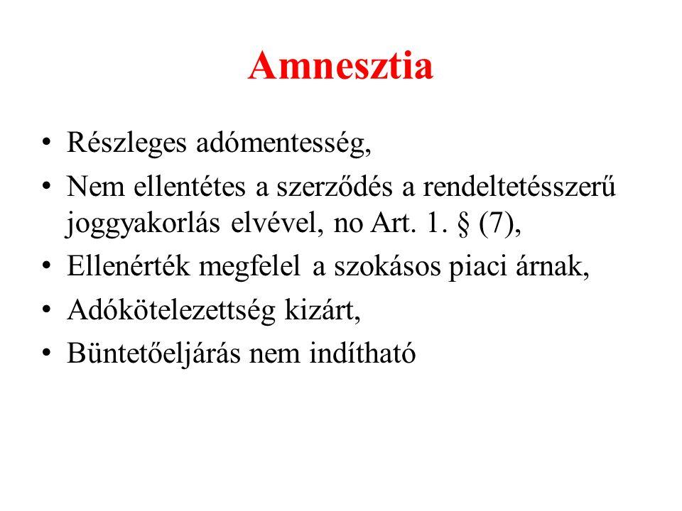 Amnesztia Részleges adómentesség, Nem ellentétes a szerződés a rendeltetésszerű joggyakorlás elvével, no Art.