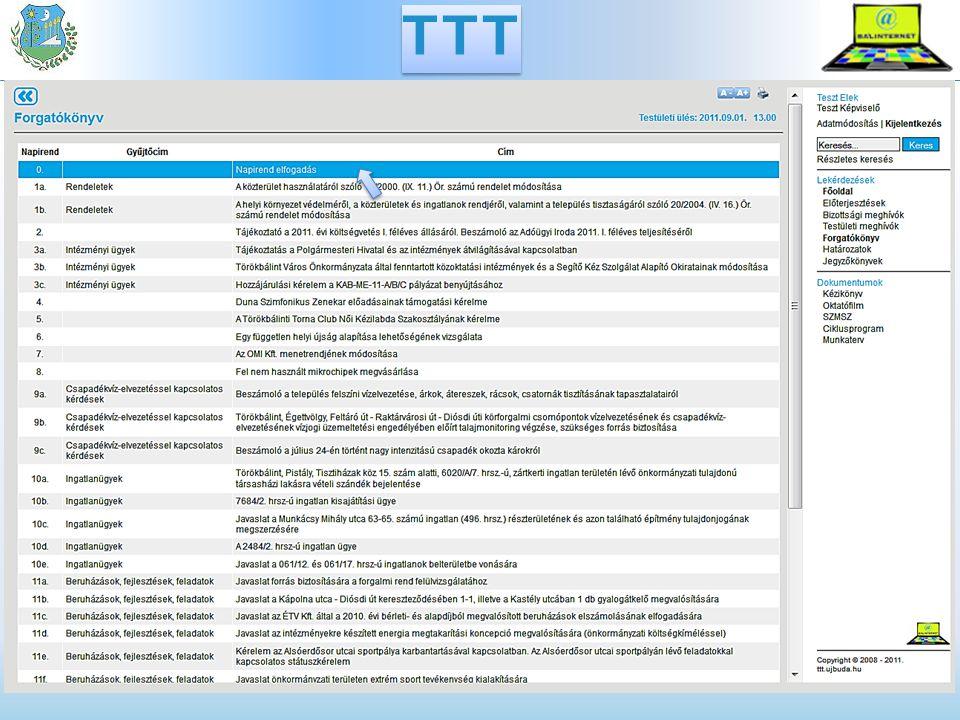 A TTT sajátosságai Bizottsági és testületi meghívók elkészítése Zárt ülések, nem publikus dokumentumok Forgatókönyv Megjegyzések kezelése Szabadszavas és tematikus keresés E-mail értesítés a képviselőknek Kapcsolódás a hivatalos honlaphoz TTT