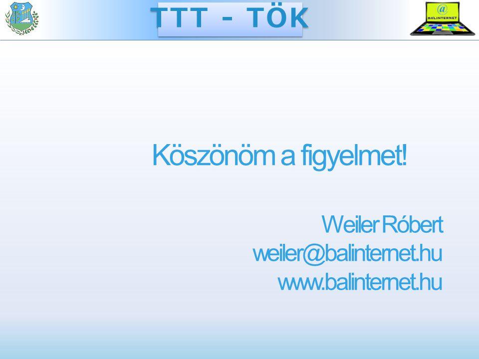 Köszönöm a figyelmet! Weiler Róbert weiler@balinternet.hu www.balinternet.hu