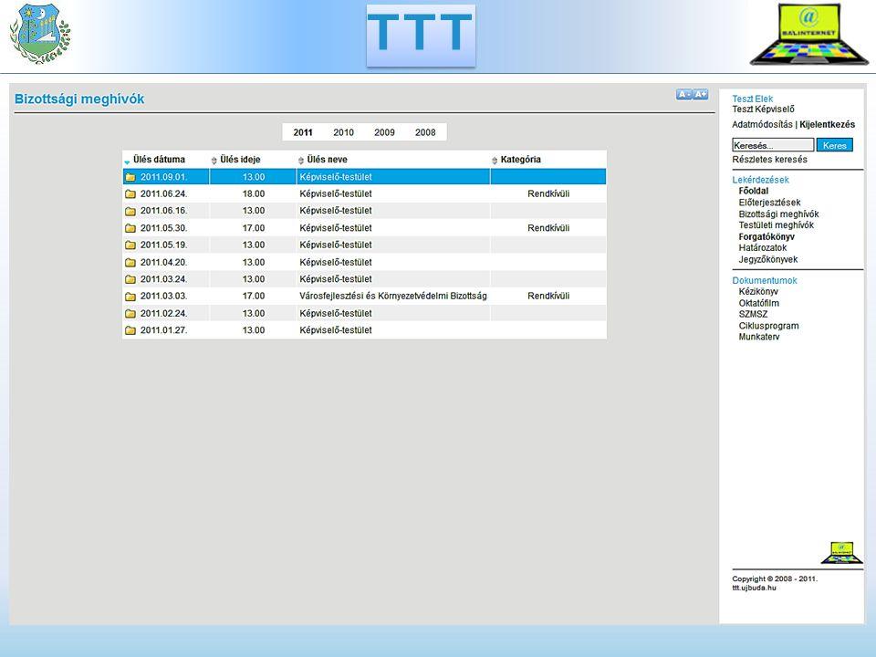 TÖK Települési Önkormányzati Könyvtár - TÖK Előterjesztések és mellékletek workflow szerű kezelése A leendő napirendek dokumentumait aktába gyűjti Kiválasztott vezetők egymástól független státuszállítása Saját gépen való szerkesztési lehetőség Megjegyzés írása aktához vagy dokumentumhoz Verziókezelés, a különböző verziók összehasonlítása Jóváhagyott dokumentumok exportálása a TTT-be