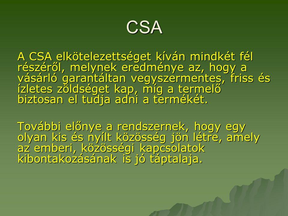 CSA A CSA elkötelezettséget kíván mindkét fél részéről, melynek eredménye az, hogy a vásárló garantáltan vegyszermentes, friss és ízletes zöldséget kap, míg a termelő biztosan el tudja adni a termékét.