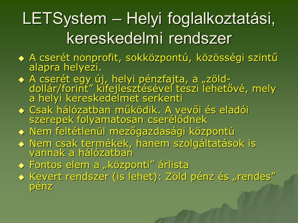 LETSystem – Helyi foglalkoztatási, kereskedelmi rendszer  A cserét nonprofit, sokközpontú, közösségi szintű alapra helyezi.