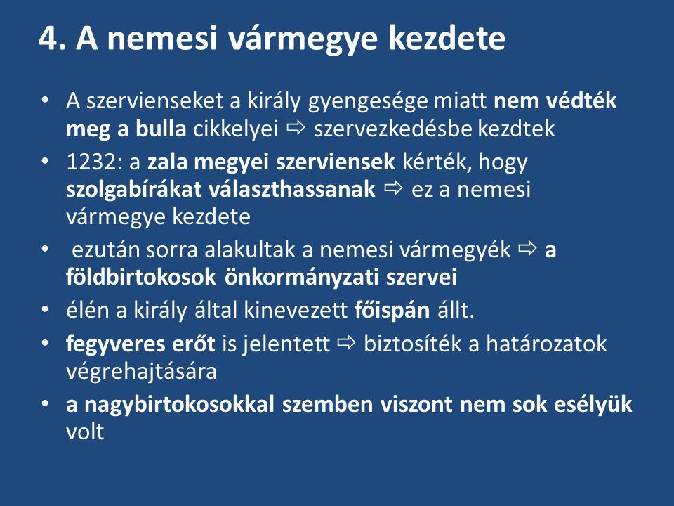 4. A nemesi vármegye kezdete A szervienseket a király gyengesége miatt nem védték meg a bulla cikkelyei  szervezkedésbe kezdtek 1232: a zala megyei s
