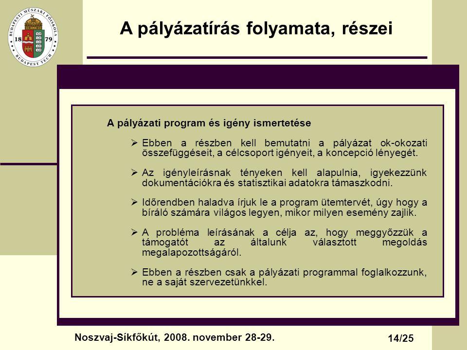A pályázatírás folyamata, részei A pályázati program és igény ismertetése  Ebben a részben kell bemutatni a pályázat ok-okozati összefüggéseit, a cél