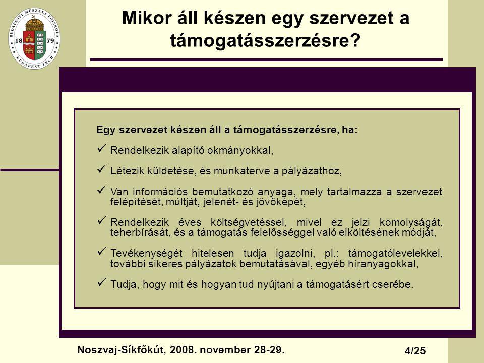 Miért pont minket támogatna valaki.5/25 Noszvaj-Síkfőkút, 2008.