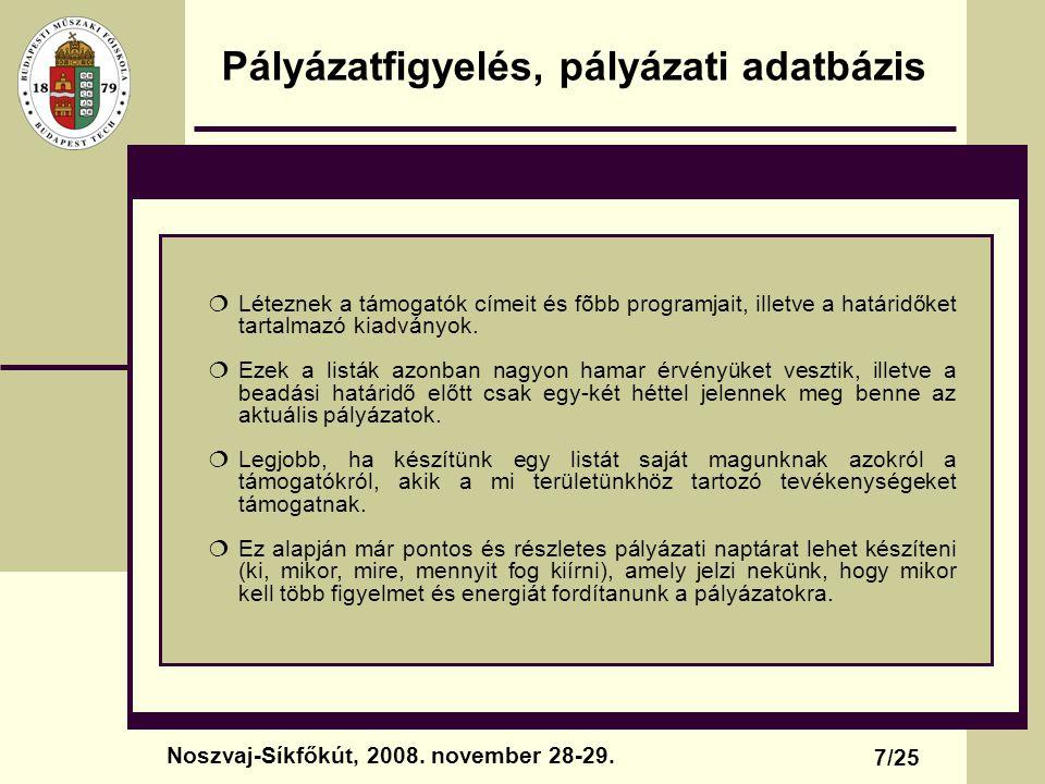 A pályázatírás folyamata, részei A költségvetés egy lehetséges formája: 18/25 Noszvaj-Síkfőkút, 2008.