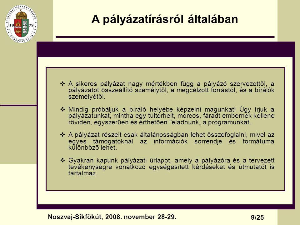 A pályázatírásról általában 9/25 Noszvaj-Síkfőkút, 2008. november 28-29.  A sikeres pályázat nagy mértékben függ a pályázó szervezettől, a pályázatot