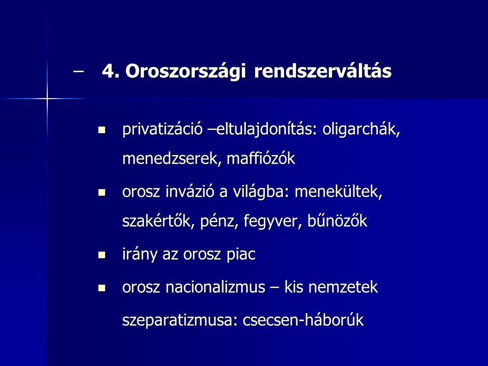–4. Oroszországi rendszerváltás privatizáció –eltulajdonítás: oligarchák, menedzserek, maffiózók privatizáció –eltulajdonítás: oligarchák, menedzserek
