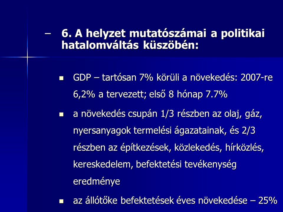 –6. A helyzet mutatószámai a politikai hatalomváltás küszöbén: GDP – tartósan 7% körüli a növekedés: 2007-re 6,2% a tervezett; első 8 hónap 7.7% GDP –