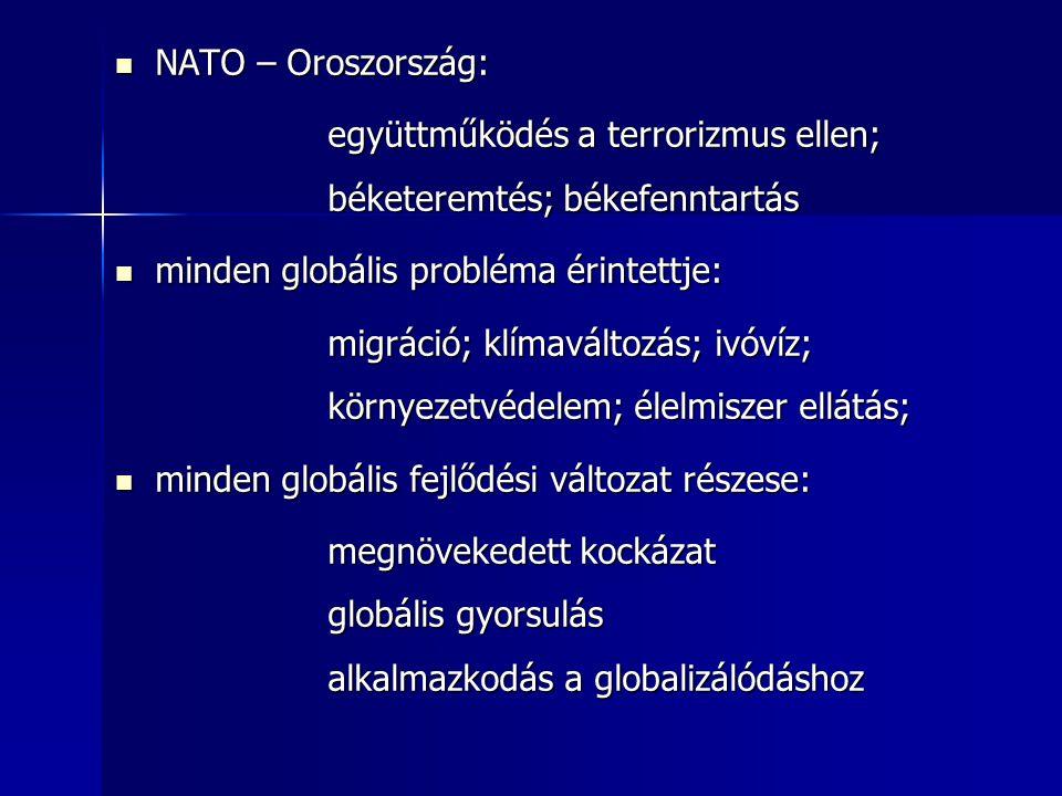 NATO – Oroszország: NATO – Oroszország: együttműködés a terrorizmus ellen; béketeremtés; békefenntartás minden globális probléma érintettje: minden gl